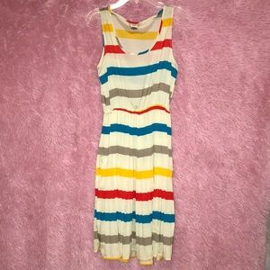 Women's stripped , pleated dress (worn once)